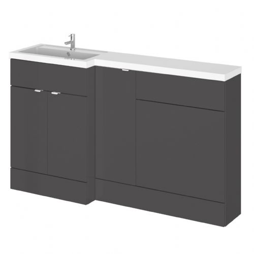 Elite Grey Gloss 1500mm Combination Furniture Pack - Left Hand
